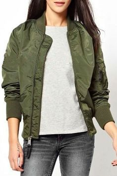 Pure Color Stand Collar Baseball Jacket ARMY GREEN: Jackets & Coats   ZAFUL