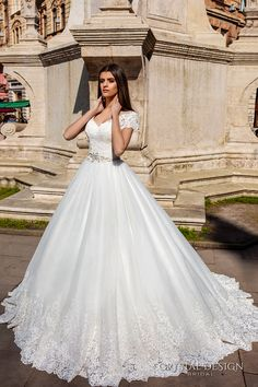 crystal design bridal 2016 lace cap sleeves v neck heavily embellished bodice pretty princess a  line ball gown wedding dress sheer back chapel train (florencia) mv