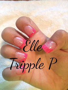 Nails Pink  French Acrylic Tips Glitter Elle Tripple P
