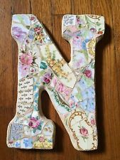 "VIntage Chic China Mosaic  Floral Wall French Shabby Mary P Mosaics Letter ""N"""