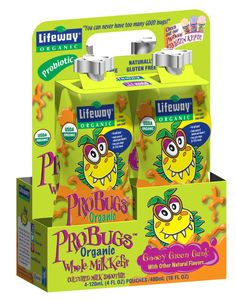 Lifeway ProBugs Organic Green Kefir, a yogurt-like smoothie blended with kale, broccoli, spinach, cabbage and apple to deliver the antioxidant equivalent of a full serving of vegetables. Like our other ProBugs smoothies for kids, the new Green goodie is packaged in a fun 4 oz. pouch with a no-spill spout for easy on-the-go snacking, is low in sugar, and brimming with protein and calcium!