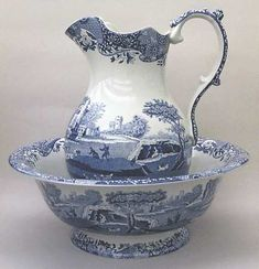 Spode Blue Italian (Camilla,Newer) 128 Oz Pitcher and Bowl Set