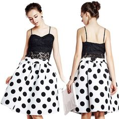 """Trendy B&W Polka Dot Pleated Midi Skirt NWOT This classic black & white polka dot pleated mind skirt is super hot this season, right on trend. Made of soft chiffon. Size labeled M, fits S. Measurements approximately: waist 26""""; length 24"""". Please use the measurements as your guide to see if this will fit you. Brand new without tags! Boutique Skirts Midi"""