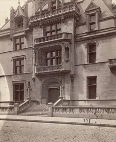 """William K. Vanderbilt Residence, """"Petit Chateau"""", 660 Firth Avenue in New York City. Built during the Gilded Age era, c.1882, by American architect Richard Morris Hunt. Demolished, c.1926. ~ {cwl} ~~ (Image: A. D. White Architectural Photographs, Cornell University Library)"""