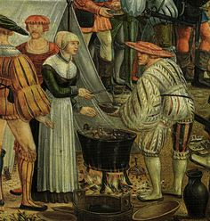 """Camp detail from"""" Geschichte der Cloelia"""", by Melchior Feselen, Historical Art, Historical Costume, Historical Clothing, German Outfit, Landsknecht, Statues, Medieval Life, Renaissance Fashion, 16th Century"""