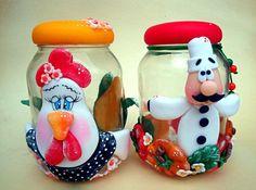 potes de biscuit decorados
