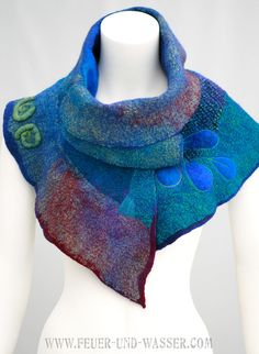RESERVED for Aisling. Nuno Felted Scarf teal by FeuerUndWasser