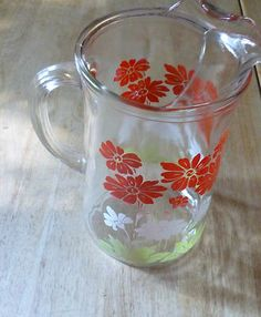 Retro Vintage Swanky Swig Floral Flower Pitcher Ice Shield Yellow White Red