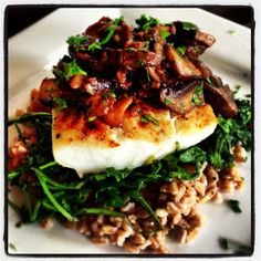 Delicious Yet Nutritious: Broiled Halibut with Mushroom Jus over Wilted Arugula and Farro