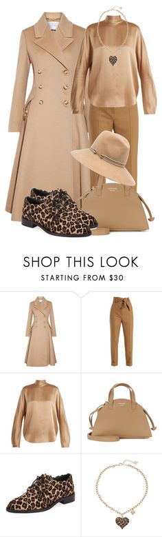 """""""Beige outfit"""" by subvilli on Polyvore featuring Gabriela Hearst, Sara Battaglia, Vince, Meli Melo, Roger Vivier, GUESS, Eugenia Kim, beige, polyvoreeditorial and polyvorefashion"""