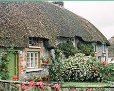 Fine Art Irish Landscape Ireland Photography Wall Decor Home Decor 8 x 10 Thatched Cottage Grren Door Flowers Photograph Irish Decor Print