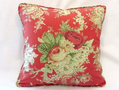 Red Cottage Floral Throw Pillow  NEW Waverly by PillowDetails