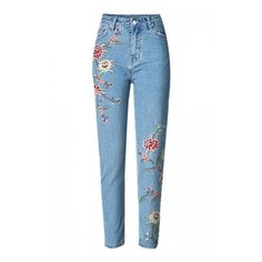 Floral Embroidered Basic Straight Jeans with Slanting Pockets (2.200 RUB) ❤ liked on Polyvore featuring jeans, pants, long pants, straight-leg jeans, straight leg jeans and blue jeans