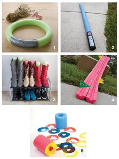 5 Creative Ideas for Pool Noodles - Wreath Base, Light Sabers, Boot Saver, Race Car Track, and Paintbrush Alternatives.
