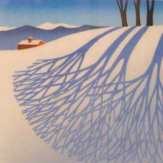 by Sabra Field tree shadows linoleum print Art And Illustration, Linocut Prints, Art Prints, Block Prints, Linoprint, Winter Art, Art Graphique, Tree Art, Landscape Art