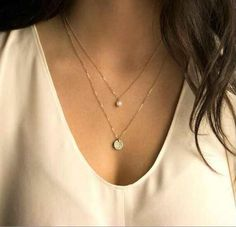 Celebrity Inspired Gold Circle Pearl Pendant Two Layer Necklace