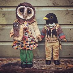 """Soozy the Sooty Owl girl helps BBboy Blackbird search for his friends (it is said he has maids nose in his satchel). The last two for my collection on Etsy Thursday 7.30pm UK time. Link in my """"about"""" section on my FB page. #anniemontgomerie #sculpture #textileart #sootyowl #owl #blackbird #nurseryrhyme #taxidermy #anthropomorphic #vintage #dolls #textiles #sewing"""