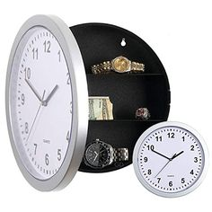 Creative Hidden Secret Safe Box Wall Clock Safe Box Wall-Mounted Hanging Key Cash Money Jewelry Storage Security Box Home Decor Wall Clock Safe, Cash Safe, Diversion Safe, Hidden Safe, Working Wall, Secret Safe, Black And White Face, Wall Clock Online, Home Protection