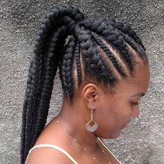 Perfect Black Braided Ponytail Natural hairstyle's braids are a go-to if you're looking to grow out your own tresses while still sporting back-skimming locks. Box braids are low-maintenance, and this updo will stay out of your face when you're on-the-go. Box Braids Hairstyles, Braided Ponytail Hairstyles, Braided Hairstyles For Black Women, Braids For Black Hair, Twist Hairstyles, African Hairstyles, Black Hairstyles, Braids Into Ponytail, Hairstyles Pictures