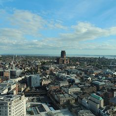 View across Liverpool from Radio City Tower. Day trip from North Wales.
