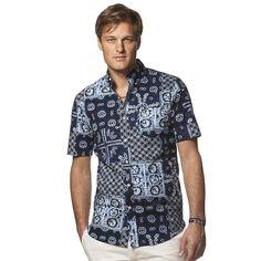 NWT Mens CHAPS Classic Fit Navy Bandana Button Down Short Sleeve Shirt Size S M #Chaps #ButtonFront