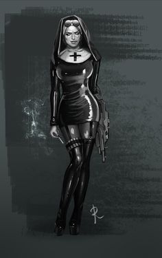 — The concept of a warrior depraved nun Goth Beauty, Dark Beauty, Hot Nun, Nun Costume, Goth Glam, Beautiful Dark Art, Tough Girl, Goth Art, Female Character Design