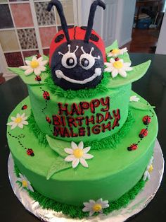 Cats Cake Creations Simple Scrolled Birthday Cake with Flowers