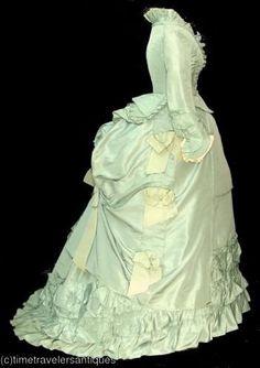 Vert menthe agitation 1880 s victorienne robe satin robe