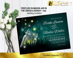 Mason Jar Fireflies Outdoor Invitation Bokeh by GlamPrettyWeddings