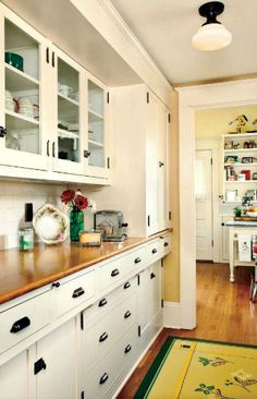 I would LOVE to recreate this old style of recessed cabinetry in a Craftsman kitchen