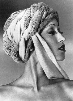 Pat Cleveland in head scarf, 1970s