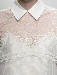 Delicate dress with white collar & dainty trim; close up fashion details // Rochas Spring 2015