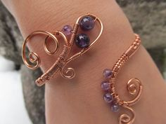 Purple Amethyst Copper Wire Bracelet 2 INSPIRE ME by TheHempChick on deviantART