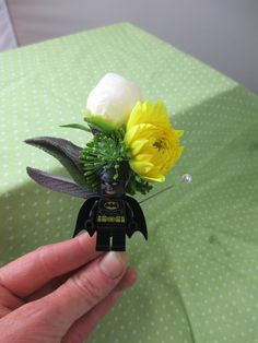 Batman for the groom! Mid June wedding. Lego boutonniere. All local flowers and greenery.
