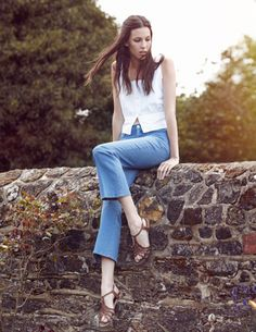 MiH Jeans SS12 campaign featuring Ruby Aldridge in the Milkmaid Top and Monaco Reed.