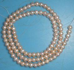 "Freshwater Pearls Peach 4 X 4.5 mm Potato 16"" Loose Craft Jewelry Beads # 60 #Erthart"