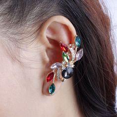 Flower crystal ear cuff - Rose gold ear cuff - Rhinestone ear cuff - Bohemain ear cuff - Punk style ear cuff