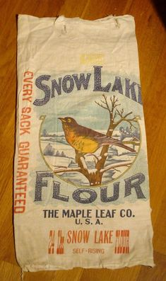 Antique Flour Sack 24 lbs. Snow Lake Flour The Maple Leaf Co.U.S.A. | eBay Snow Lake, Flour Sacks, Feed Sacks, Fabric Panels, Fabrics, Packaging, The Unit, Antiques, Ebay