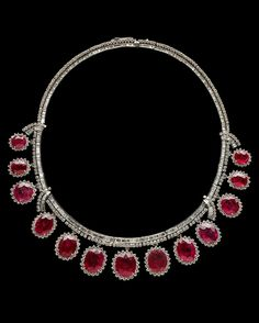 """Ruby and Diamond Necklace - 90 cttw untreated rubies with a high level of """"silk"""" - brilliant-cut diamonds - in platinum - Grainger Hall of Gems, The Field Museum, Chicago"""