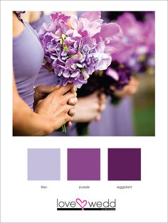 lilac, purple, eggplant #color palette #wedding love the colors perfect for fall