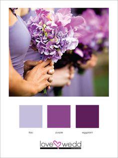 lilac, purple, eggplant #color palette #wedding
