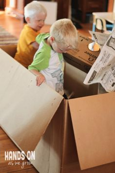 Snow day idea -- or just for fun - make a cardboard box dumpster for the kids to dive in and find treasures.