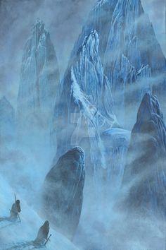 Tuor and Voronwe Approach the Echoriath of Gondoli by KipRasmussen