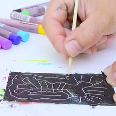Instant scratch art! Well, as close as instant as you can get :) It's Ana from @babbledabbledo again, sharing this super fast method of making your own scratch art paper using Cray Pas oil pastels! #craypas