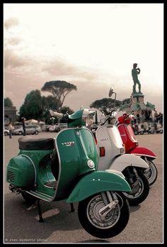 Italian Vespa. Tricolore. Italy. Vintage.