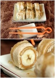 Flatten a slice of wheat bread, cover it in peanut butter and roll it around a banana. Slice like sushi and drizzle with honey! :) YUUUUMMMM!!!
