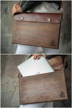 While creating this case, I thought of a perfect addition for the modern man in business. This Macbook wooden box will keep your gadget nice Wooden Bag, Wooden Boxes, Macbook Air Bag, Coque Macbook, Watch Storage Box, Mac Book, Leather Craft, Handmade Leather, Leather Bags