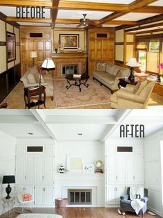 from the nato's: living room before and after on painting all the oak white