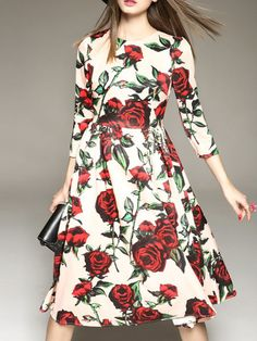 Printed Twill Midi dress