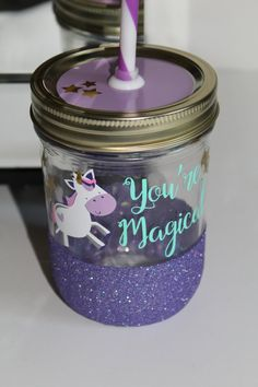 Unicorn You're Magical 16 oz Glitter Dipped Tumbler//Kids Glitter Tumbler//Unicorn Cup//Princess Cup//Glitter Cup//Kids Party//Gifts